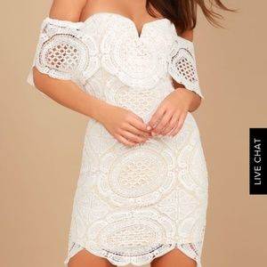 Lulus Bellissimo White Lace Off the Shoulder Dress